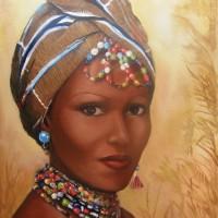 Belle Ivoirienne - baoule / huile - 41x27cm