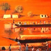 Commerce Sur le Niger / huile - 46x33cm