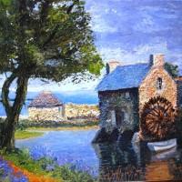 Moulin à eau Bretagne - Le Burlot / huile - 41x33cm